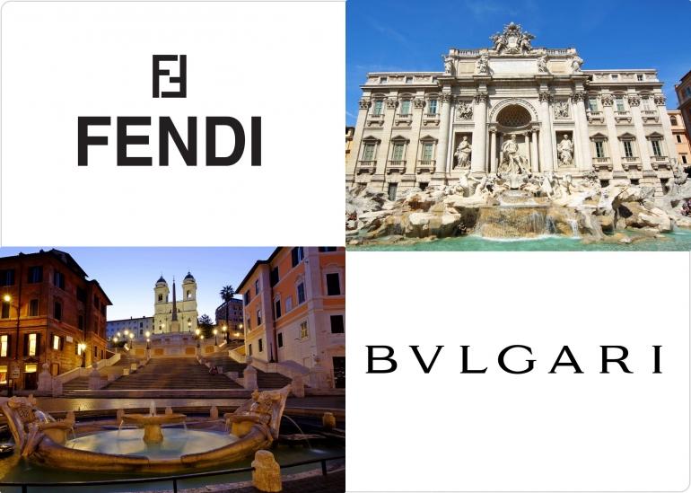 Trevi Fountain, Spanish Steps & Sponsor.| Kolase foto Sumber: Dokumentasi pribadi| Logo milik Fendi dan Bulgari
