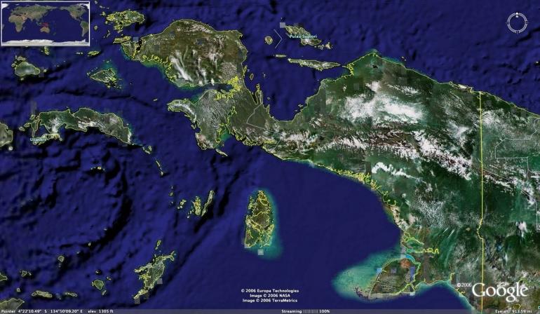 Peta wilayah Papua yang berbatasan dengan negara Papua NuginiSumber: https://ensikloindonesia.blogspot.com/