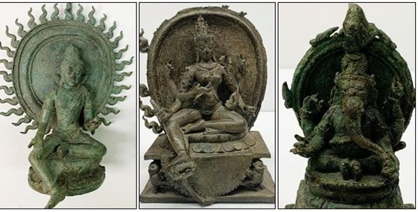 Dari kiri: Siwa, Parwati, dan Ganesha, tiga arca kuno yang kembali ke Indonesia dari AS (Foto: Konjen RI New York/detik.com)