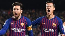 Lionel Messi dan Philippe Coutinho (Foto Skysports)