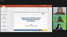 Dokumentasi Pribadi: Pelaksanaan Sosialisasi Working Space Melalui Zoom Meeting