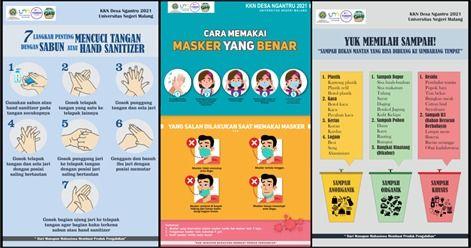 Poster Pola Hidup Sehat di Era Pandemi meliputi (a)langkah mencuci tangan, (b)cara memakai masker, dan (c)memilah sampah.