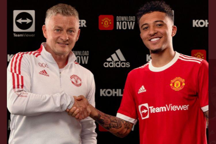 Jadon Sancho resmi berseragam MU mulai musim 2021/22. Sumber foto: Tangkapan Layar Twitter Manchester United via Kompas.com