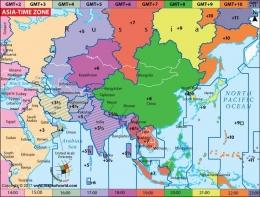 Peta zona waktu Asia. Perlu diketahui, Korea Utara saat ini pakai zona waktu UTC+9. Sumber gambar: Twitter.