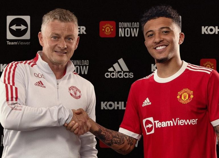 Manchester United Jadon Sancho yang resmi bergabung pada, Jumat (23/7/2021). Foto: Akun Media Sosial Resmi Manchester United via Kompas.com