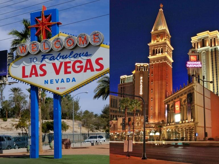 Kolase foto Las Vegas sign & The Venetian Hotel - Las Vegas. Sumber: dokumentasi pribadi