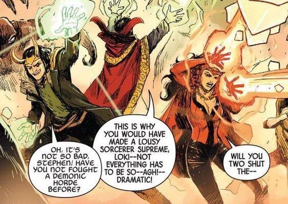 Doctor Strange, Loki dan Wanda saat bertarung bersama di komik. Sumber : Marvel Unlimited