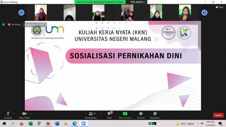 Sosialisasi Pernikahan Dini Melalui Aplikasi Zoom (Dokpri)