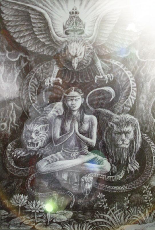 Erlangga muda bertapa (Lukisan Bp Y.P Sukiyanto )