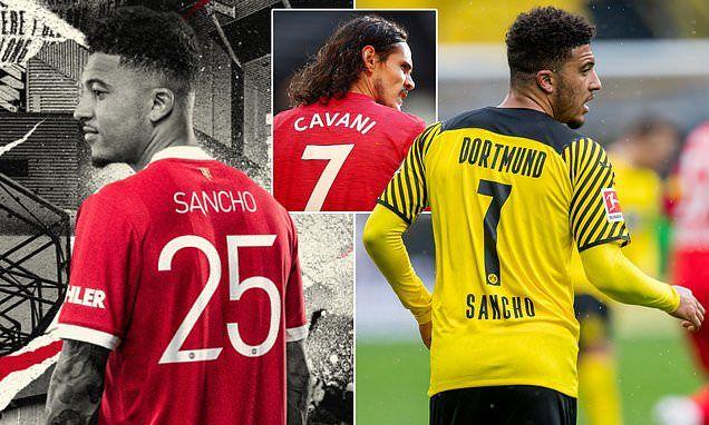 Jadon Sancho tidak menggunakan nomor punggung 7 di Manchester United (Gambar: qlur.com)