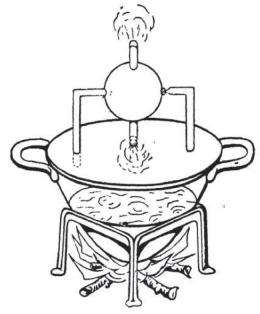 Mesin atau turbin uap tertua di dunia, yang menurut legenda ditemukan oleh Heron dari  Aleksandria (sekitar 200 SM). Sumber: buku Physics for Entertainment, Book 2, hlm. 24.