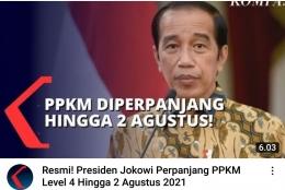 Foto : Pernyataan Presiden Joko Widodo mengenai PPKM Minggu 25 Juli 2021 di Istana Merdeka (tangkapan layar YouTube Kompas TV)