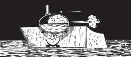 Kapal uap kertas mainan dengan ketel kulit telur. Sumber: buku Physics for Entertainment, Book 2, hlm. 25.