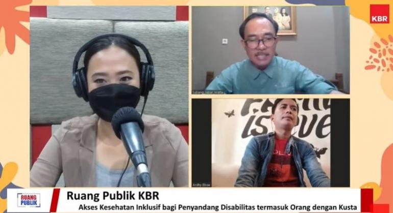 Webinar bersama KBR dan NLR Indonesia untuk mendukung layanan kesehatan bagi disbilitas kusta. (Dok. pribadi)