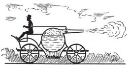 Mobil penemuan Newton yang digerakkan oleh uap. Sumber: buku Physics for Entertainment, Book 2, hlm. 24.