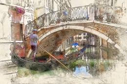Ilustrasi gondolier memandu gondola di Venesia (gambar: ArtTower Via Pixabay)