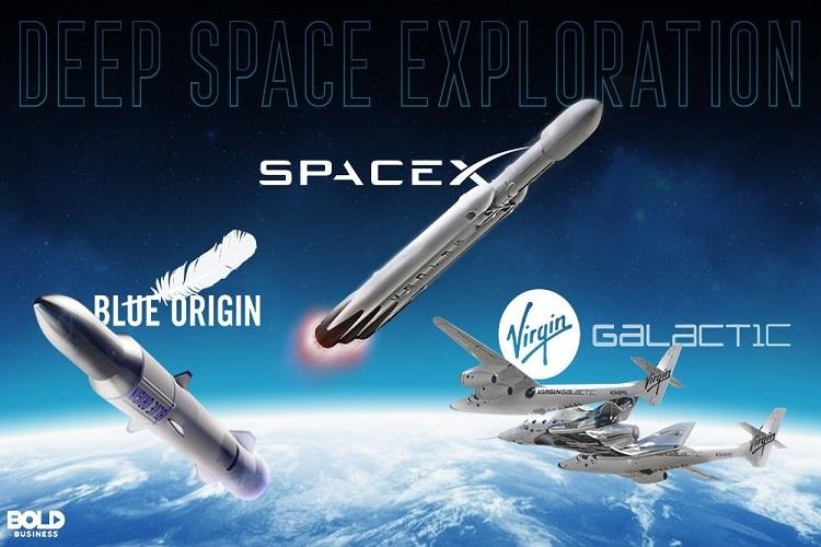 Gambar ilustrasi spaceX, Blue Origin dan Virgin Galactic. Sumber: boldbusiness.com