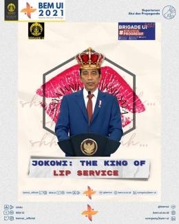 Meme Jokowi: The King of Lip Service (Sumber: twitter.com/bemui_official)