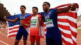 Foto Lalu Muhammad Zohri bersama 2 sprinter Asal Amerika/2018 Via Okezone.com