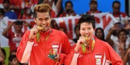Tontowi Ahmad/Liliyana Natsir, mantan pasangan bulutangkis ganda campuran Indonesia menggigit medali emas di Olimpiade 2016 lalu (Foto: bolanet).