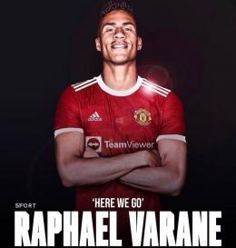 Raphael Varane deal pindah dari Real Madrid menuju Manchester United. (Sumber: screenshot dari Instagram @fabriziorom).