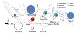 Gambar 6. Perkiraan hilangnya areal mangrove di Indonesia beserta dengan penyebabnya [16]