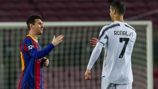 Lionel Messi dan Cristiano Ronaldo ketika Barcelona melawan Juventus diajang Liga Champions Edisi 2020-2021 (Foto AP/Joan Monfort)