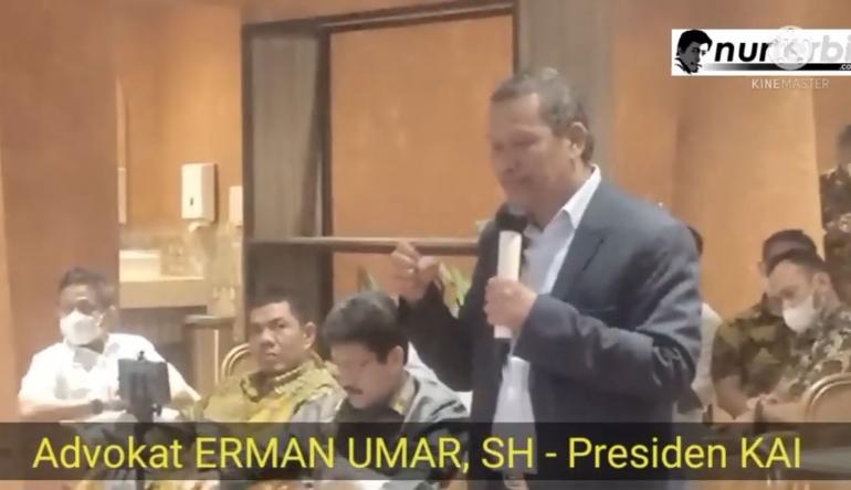 Teks foto : Presiden DPP KAI, Erman Umar SH (foto : Nur Terbit)
