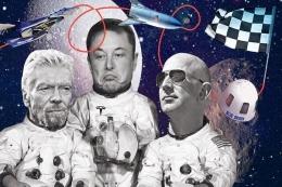 Richard Branson, Elon Musk, dan Jeff Bezos tengah berlomba menaklukkan ruang angkasa dengan pesawatnya masing-masing. | Telegraph UK