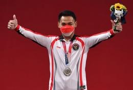 Eko Yuli Irawan seusai meraih perak Olimpiade Tokyo: kompas.com