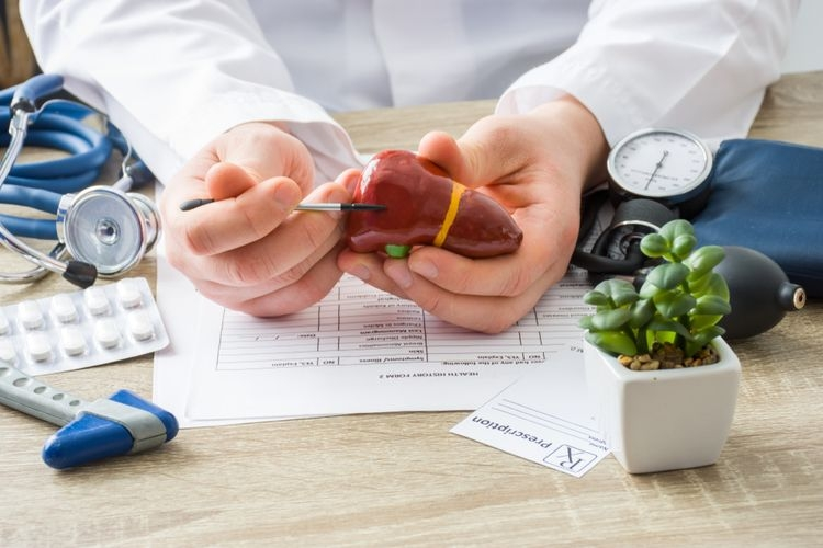 Ilustrasi organ hati dan penyakit hepatitis.|Sumber: Shutterstock via Kompas.com