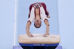 Kim Bui atlet senam Jerman (AP Photo/Gregory Bull)