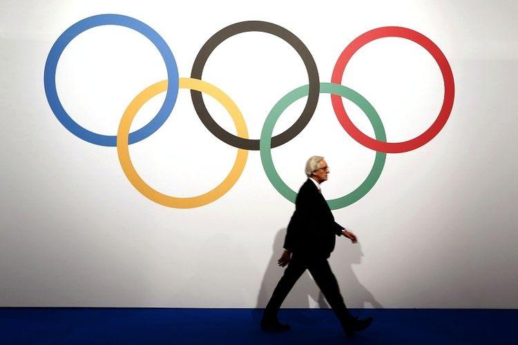 Logo International Olympic Committee (IOC).| Sumber: AFP/VALERY HACHE via Kompas.com