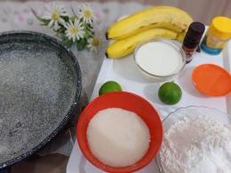 Ilustrasi bahan kue karamel pisan | Dokpri