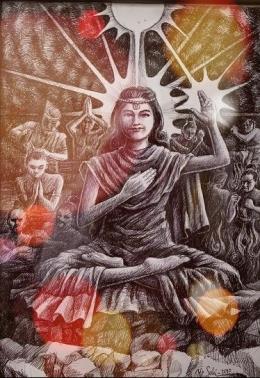 Semburat Putih Pelangi Kasih (Lukisan Bp Y.P.Sukiyanto)