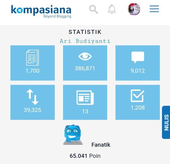 Dokpri Ari Budiyanti: tangkap layar akun Kompasiana penulis artikel