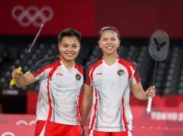 Greysia Polii/Apriyani Rahayu usai mengukir sejarah bagi bulutangkis Indonesia: badmintonphoto