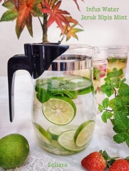 Ilustrasi infus water jeruk nipis daun mint |Dokumentasi pribadi