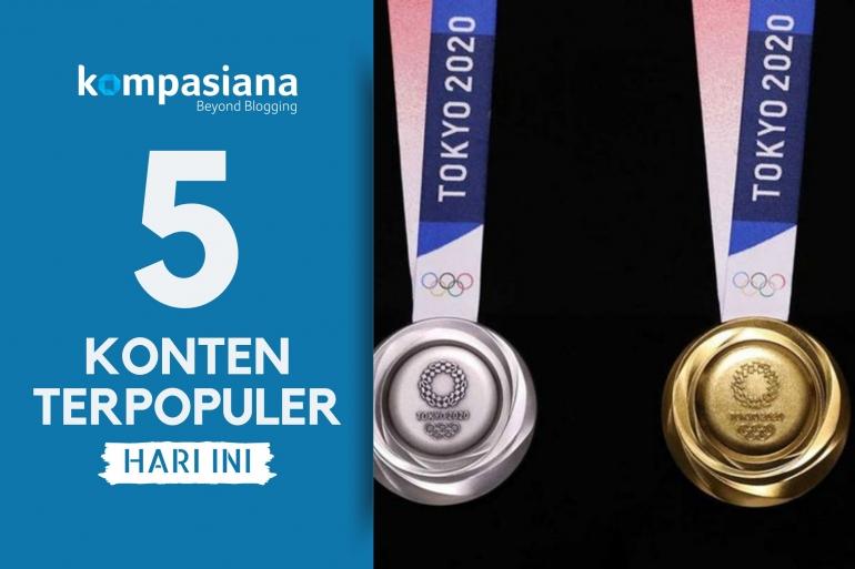Ilustrasi: Medali Olimpiade Tokyo yang dibuat dari limbah elektronik. (Diolah kompasaiana dari Engaget via kompas.com)