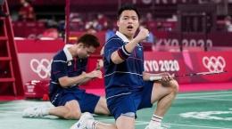 Ekpresi Aaron Chia/Soh Wooi Yik usai menyingkirkan Minions dari panggung Olimpiade Tokyo: bwfbadminton.com