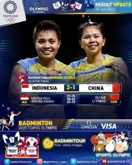 Foto Ilustrasi : Akun Instagram badmintontour-com (pasangan ganda putri indonesia Apriyani Rahayu dan Greysia Polii)