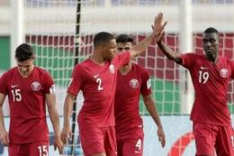 Para pemain Timnas Qatar saat Piala Asia 2019. Foto: TWITTER.COM/AFCASIANCUP dipublikasikan kompas.com