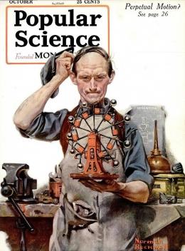 Majalah Popular Science edisi Oktober 1920, tentang gerakan perpetual. Sumber: Norman Rockwell