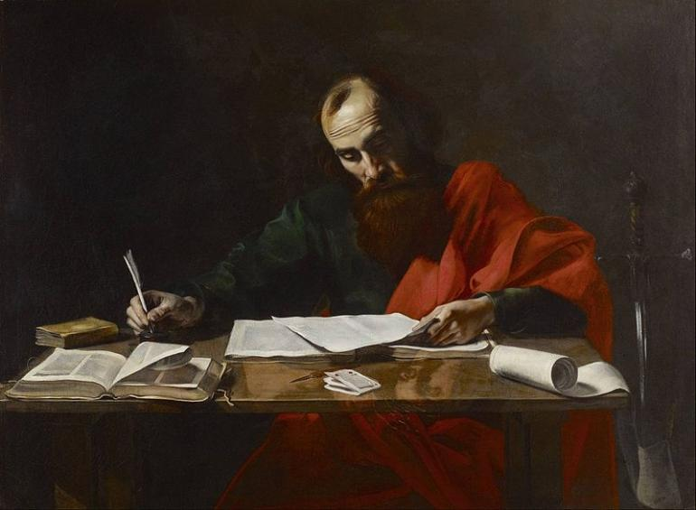 Paul Writing His Epistles, painting attributed to Valentin de Boulogne, 17th century (Public Domain)