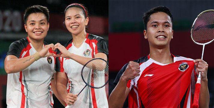 Gresyia/Apriyani dan Anthony Ginting I Gambar : Kolase Editan Tribunnews.com