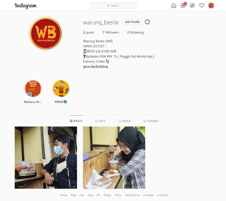 Screenshoot Akun Media Sosial bisnis Warung Bestie (Dok. Pribadi)