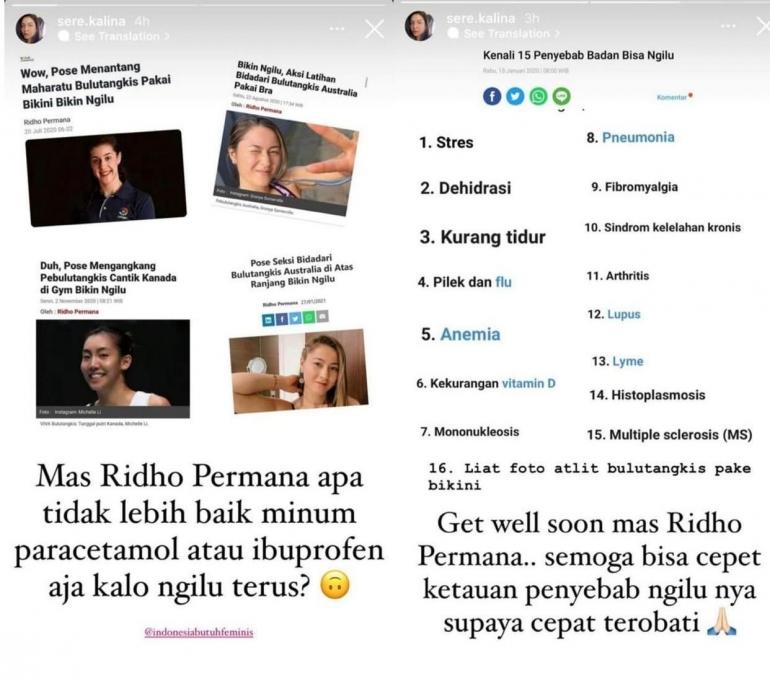 Komentar Sere Kalina dalam instagramnya terhadap Ridho Permana (Foto: Instagram Sere Kalina dalam ngopibareng.co.id)