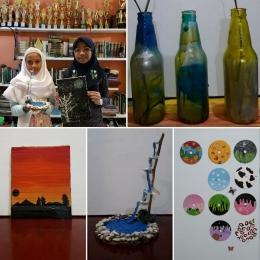 Berbagai hasil karya Teteh dari barang bekas, (dokpri)