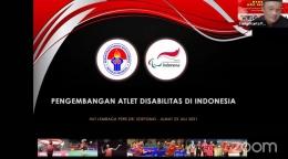 Pemaparan materi oleh Ketua Empat Bidang Penelitian dan Pengembangan National Paralympic Committee Of Indonesia, Sapta Kunta. (Dok. Pribadi)