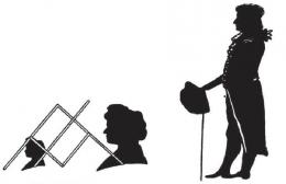 Kiri: Cara memperkecil siluet. Kanan: Siluet dari Schiller (1790). Sumber: buku Physics for Entertainment, Book 1, hlm. 127.